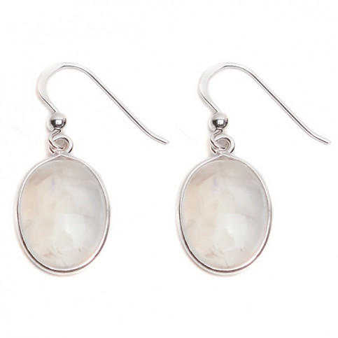 JEWELLED - 925 Sterling Silver Hook Earrings Decorated with Rainbow Moonstone. Handmade. Design, Shape and Size Will Vary