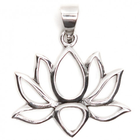 925 Sterling Silver Lotus Oxidized Pendant