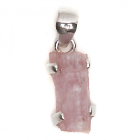 JEWELLED - 925 Sterling Silver Pendant Decorated with Uncut Morganite. Handmade. Shape and Size Will Vary.