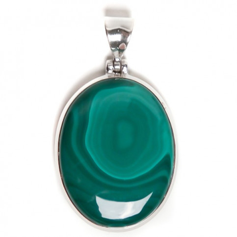 JEWELLED - 925 Sterling Silver Pendant Decorated with Malachite. Handmade. Design, Shape and Size Will Vary