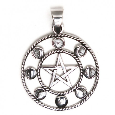 925 Sterling Silver Moon, Star Pendant
