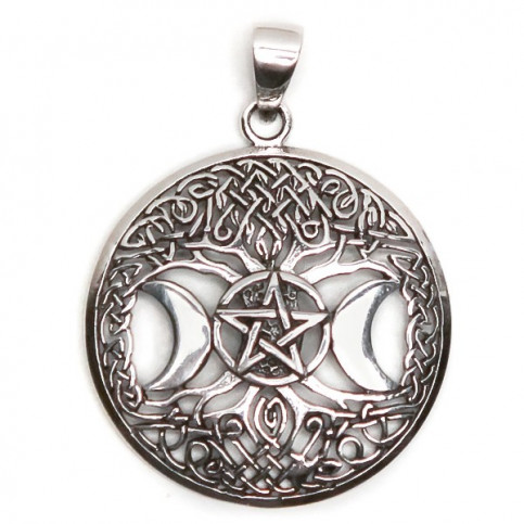 925 Sterling Silver Oxidized Pendant Featuring Moon, Star And Celtic Tree Of Life