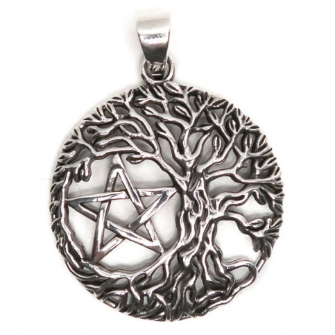 925 Sterling Silver Oxidized Pentagram Star & Tree of Life Celtic Pendant