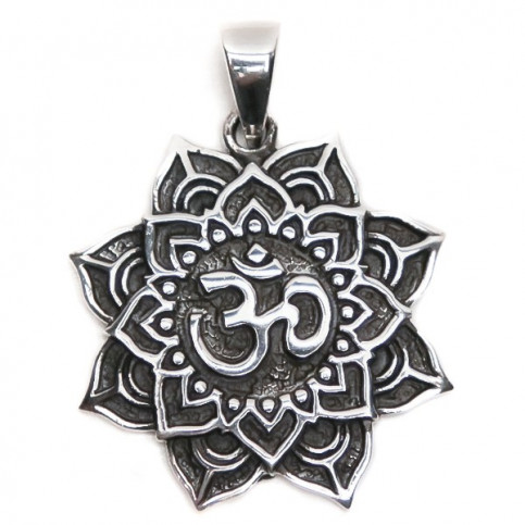 925 Sterling Silver Flower and Om Pendant