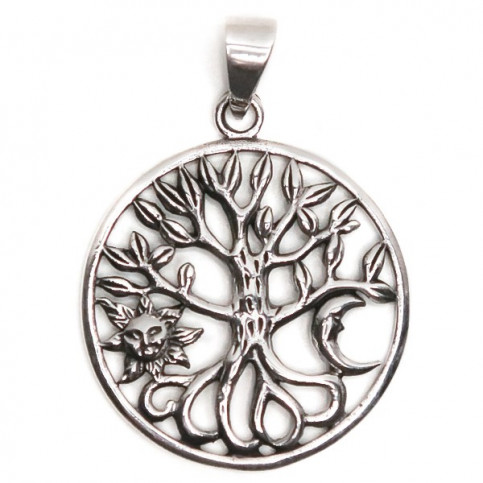 925 Sterling Silver Moon, Sun & Tree Of Life Pendant